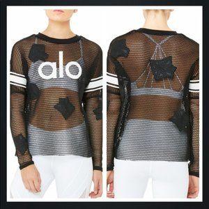 NWT Alo Yoga Jersey Mesh Black Long Sleeve Top XS